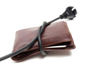 Electrical cord strangling wallet